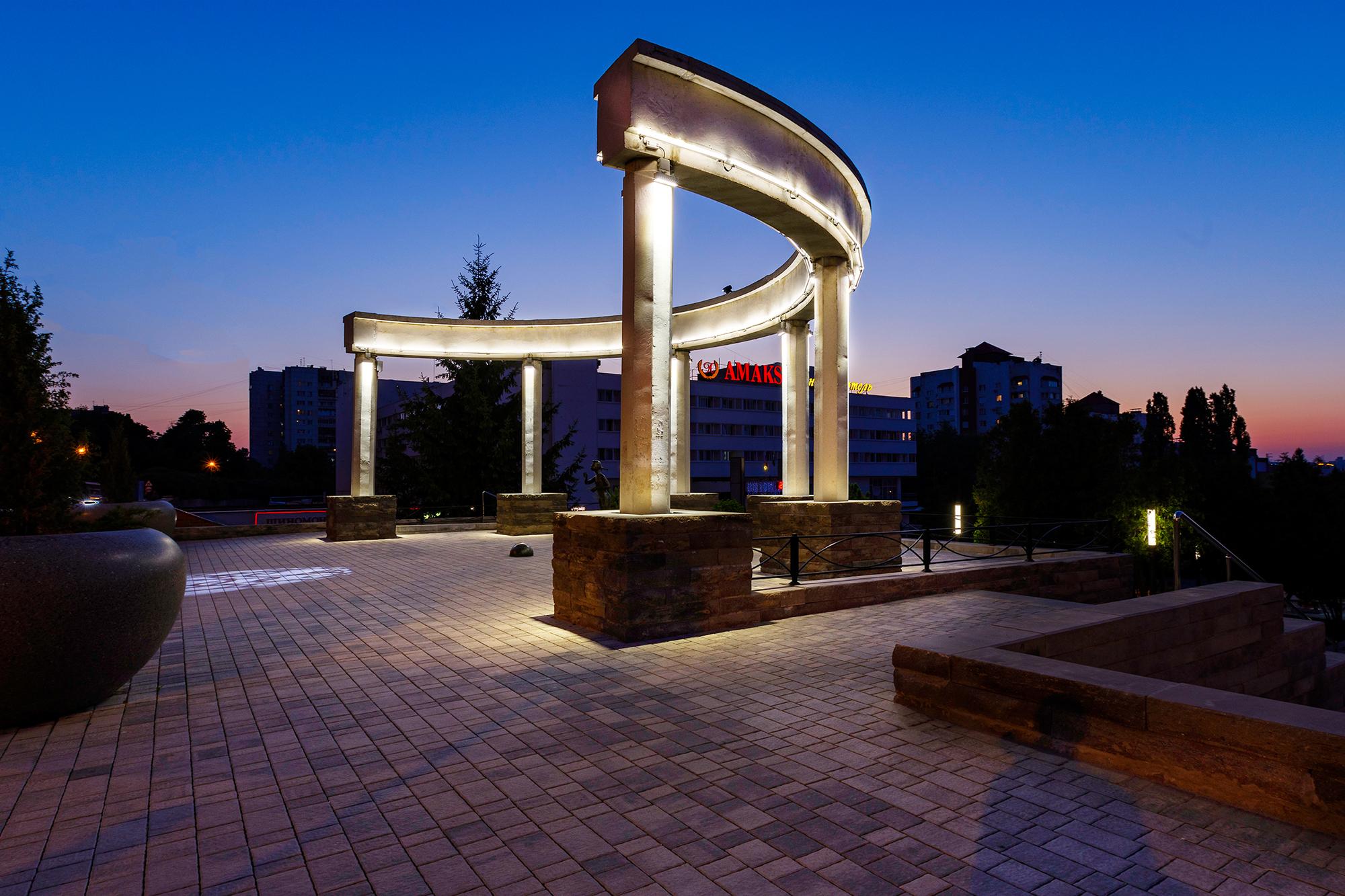 Освещение Памятника Мечте в городе Белгород