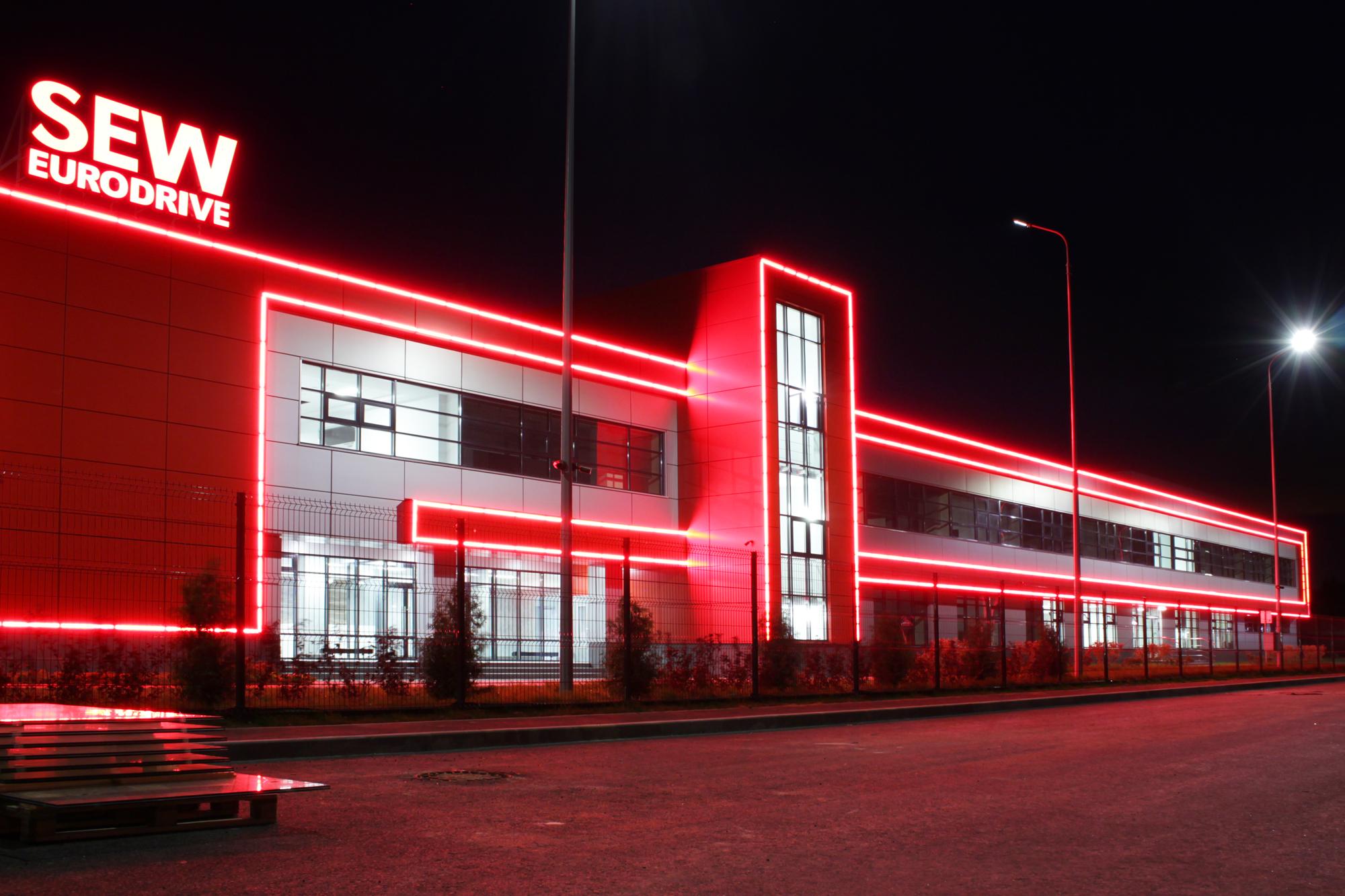 """Освещение фасада """"Центр приводной техники СЕВ-Евродрайв"""""""