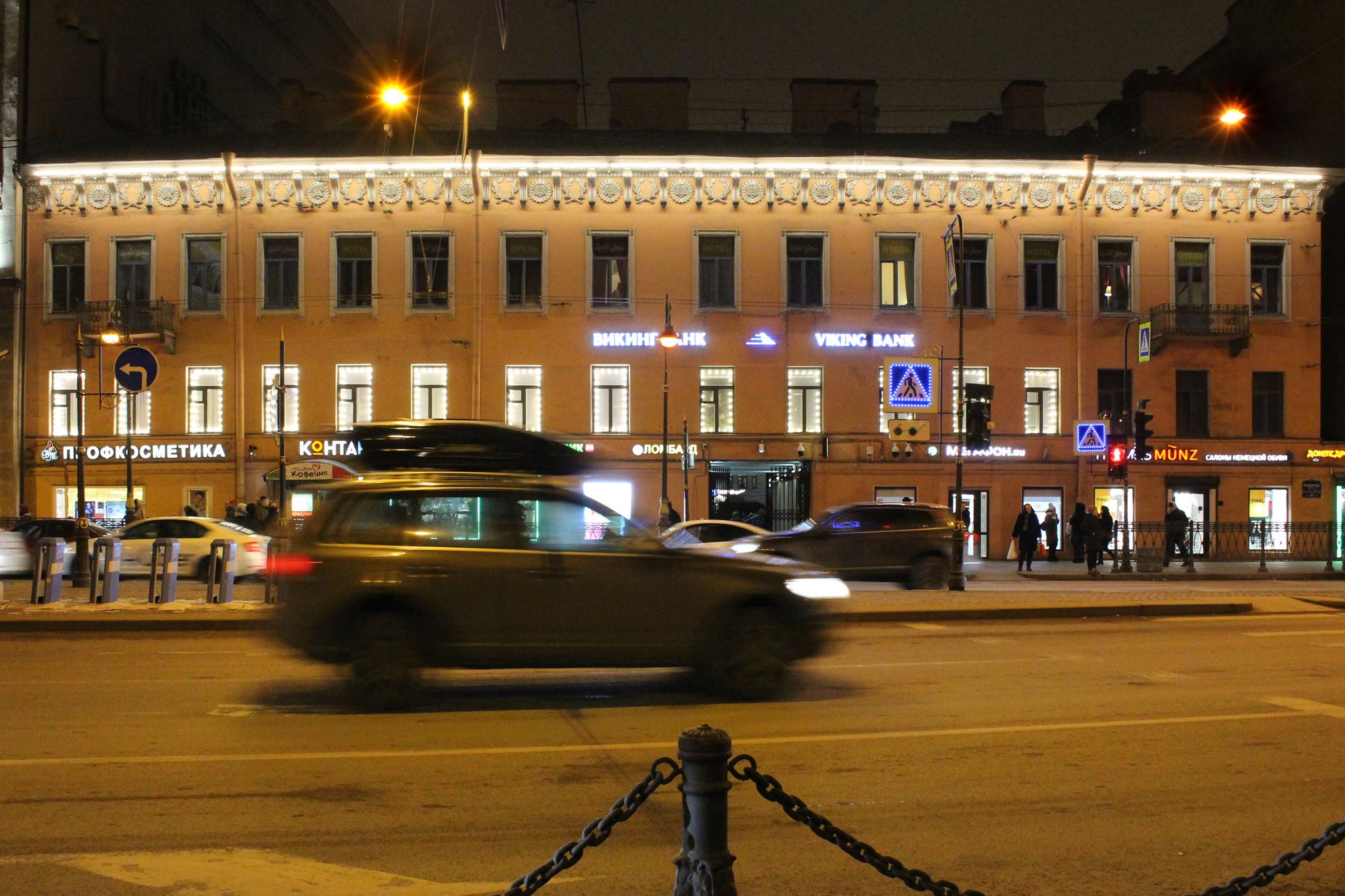 Освещение фасада БЦ Владимирский 17